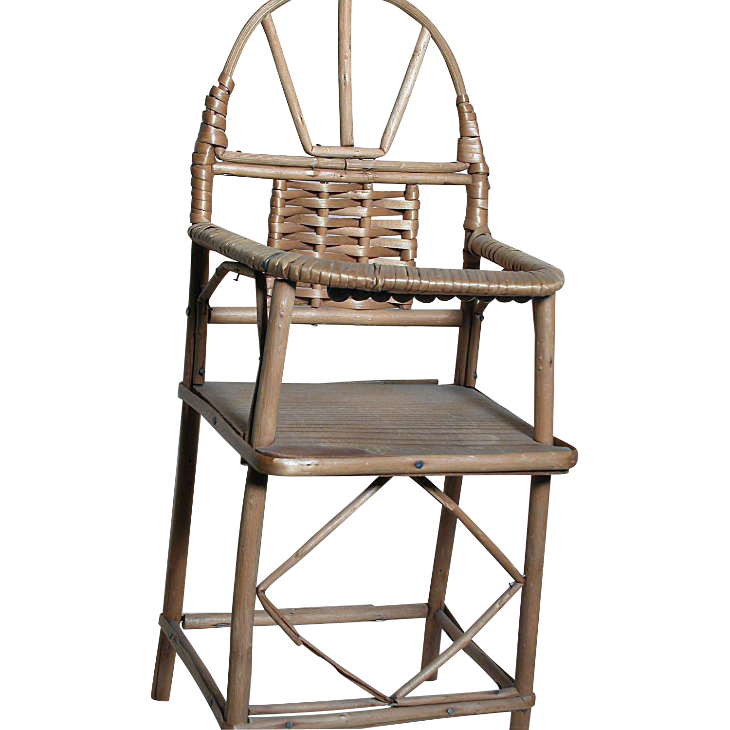 Wooden Wicker Furniture ~ Miniature wood woven wicker doll high chair from