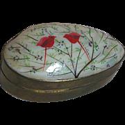 Vintage Vanity or Jewlery Box Hand painted Abalone Shell Hinged Brass Like Metal  Vanity Box