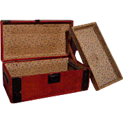 Vintage Wooden Doll's Trunk