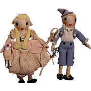 Pair Of Vintage Cloth Nursery Rhyme Characters By Althea Smart