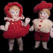 Pair of All Bisque German Children