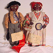 Pair Of Black Cloth Historic Character Dolls