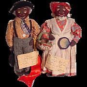 Pair Of Black Cloth Historic Character Dolls