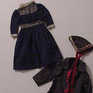 Dress With Coat And Hat For German Bisque Doll