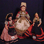 Three French Ladies In Regional Costumes