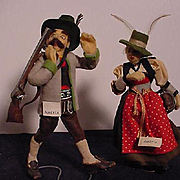 Pair of Austrian Felt Doll From The Fifties