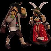 Pair of Austrian Felt Doll From The Fifties