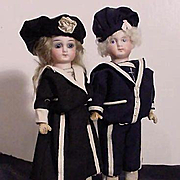 "8"" Pair Of Children Dressed In Sailor Costumes"