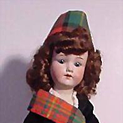German Bisque Head Child In Scottish Outfit