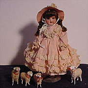 Bisque Socket Head Child With Her Sheep