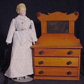 Doll Three Drawer Chest With Mirror