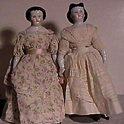 Pair Of China Dolls Including One With Brown Eyes And One With Adelina Patti Hairstyle