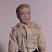 German Male Bisque Doll With Painted Features