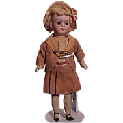 Petite German Child With Bisque Head And Papier Mache Body
