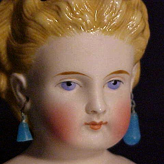 Beautiful Molded Hair Bisque Lady With Pierced Ears