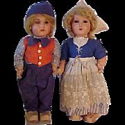 Pair Of Unusual Dutch Dolls Made In Belgium