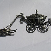 Sterling Cinderella Fairytale Mice & Carriage Brooch
