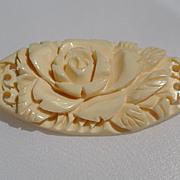 Vintage Carved Bone Rose Brooch