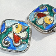 Modernist Oystein Balle Norwegian Sterling Enamel Earrings