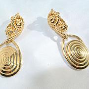 Trifari Gold Tone Dangling Rope Earrings