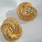 Christian Dior Vintage Gold Tone Rhinestone Earrings
