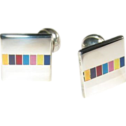 Sterling Enamel Modernist Cufflinks Vintage Geometric