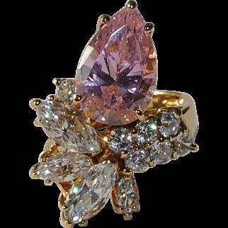 Pink Pear CZ Designer Cluster Ring