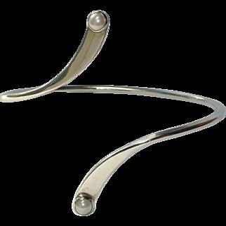 Sterling Pearl Vintage Artisan Bracelet