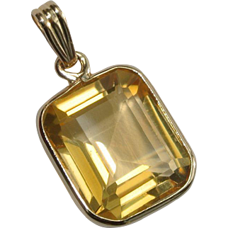Citrine 14 K Gold Pendant or Charm