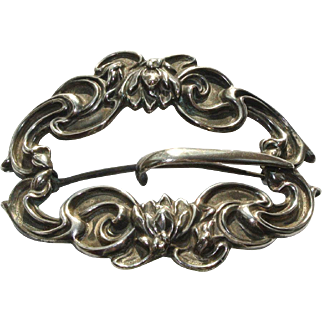 Antique Silver Repousse Buckle Pin
