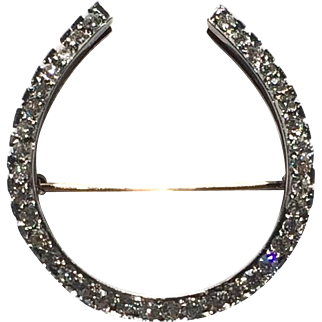 Horseshoe Diamond Platinum 18K Gold Pin