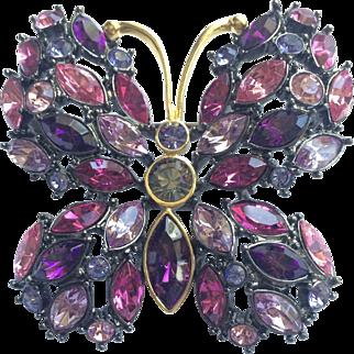 Butterfly Rhinestone Designer Brooch by Joan Rivers