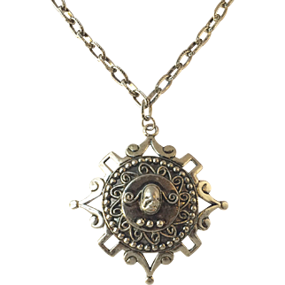 Vintage Silver-tone Necklace with Ancient Revival Scarab Style