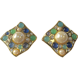 Givenchy Vintage Earrings with Faux Pearl, Rhinestones, and Faux Moonstone Jelly Belly Stones