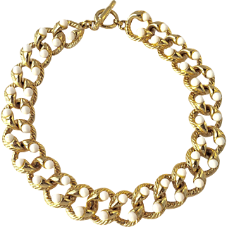 White and Gold Vintage Costume Necklace