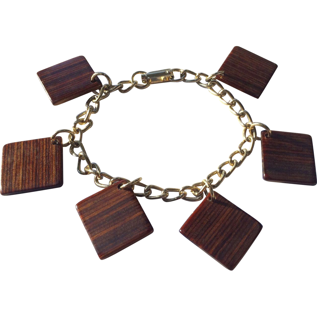 Square Charm Bracelet: Square Wood Mid Century Geometric Charm Bracelet From