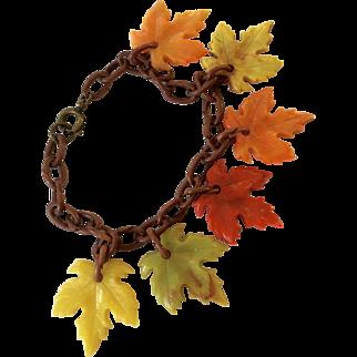 Celluloid Leaf Vintage Charm Bracelet