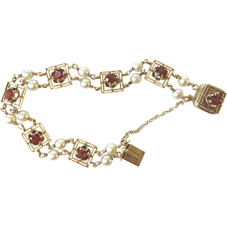 Pearl & Garnet 14K Gold Bracelet