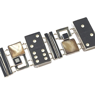 Sterling Domino Onyx Abalone Bracelet Mars & Valentine Echo of the Dreamer