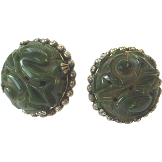 Green Bakelite Carved Earrings