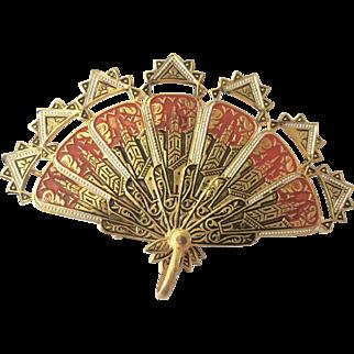 Spain Enamel Retractable Fan Brooch Pin Pendant