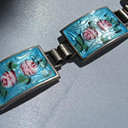 Sterling Silver Bracelet made with French-Blue Enamel and Pink Painted Flowers