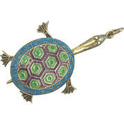 Art Deco Turtle Silver Chinese Gilded Silver Movable Tortoise Pendant