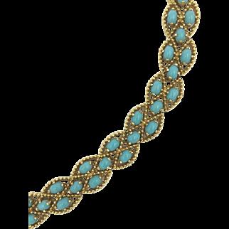 Panetta Faux Turquoise Glass Stones Gold Tone Bracelet