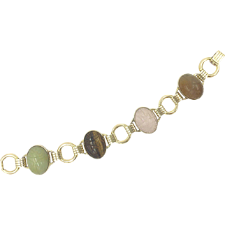 Retro Scarab Gold Filled Bracelet with Rings & Genuine Stones