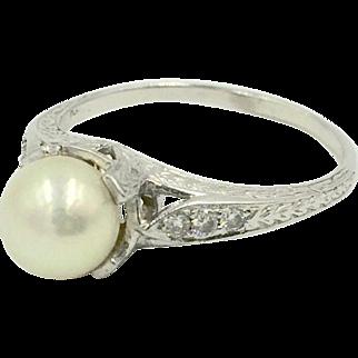 Antique Platinum Diamond Pearl Ring