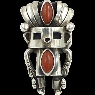 Coral Sterling Kachina Ring Native American