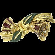 Trembler Enamel 1930's Coro Duette Bell Rhinestone Flower Pin Brooch