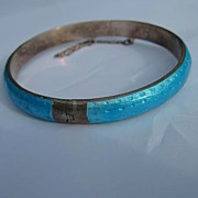 Sterling Silver Blue Enamel Vintage Bangle Bracelet
