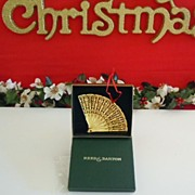 Vintage Reed & Barton Filigree Brass/Gold Tone Fan Christmas Ornament NIB